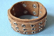 "SANDY BROWN RING STUDDED WRISTBAND LEATHER BRACELET BOYS MENS 1.75"" LB0218"
