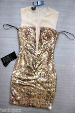 NWT Bebe Dress rose pink gold sequin mesh deep v neck cutout back top XS 0 2