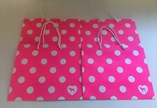 LOT OF 4 MEDIUM Victoria's Secret Pink Polka Dot Shopping Gift Paper Bags
