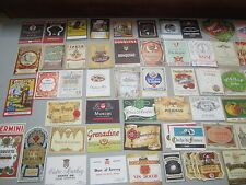 Lot of 100 Old 1930's-50s European WINE & LIQUOR LABELS - All Different