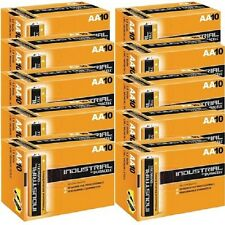100 BATTERIES DURACELL INDUSTRIAL AA; LR6; LR6T/4B, E91 MN1500, AM3 UM3 BATTERY