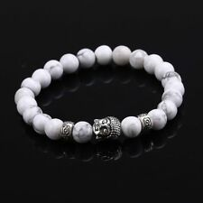 White Stone Silver plated Natural Stone Buddha Head Beaded Bracelet 8MM Beads