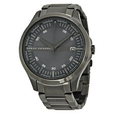 Armani Exchange Hampton Grey Textured Dial Gunmetal Ion-plated Mens Watch AX2135