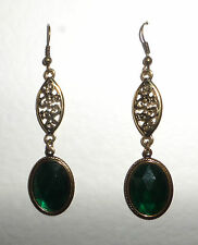 VICTORIAN STYLE FACETED EMERALD GREEN OVAL GOLD PLATED MARQUISE SHAPE EARRINGS