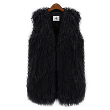 Womens Faux Fur Vest Sleeveless Long Hair Waistcoat Gilet Coat Jacket Outwear