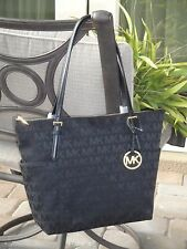 MICHAEL KORS JET SET EAST WEST EW ZIP TOTE BAG PURSE $248 MK SIGNATURE BLACK NEW