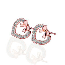 Cute Heart Shaped 18K Rose Gold Plated Stud Earrings Swarovski Crystal Gift