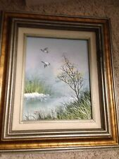Vintage Nature Ducks marsh wetlands Signed Frame Oil Painting Creative Interiors