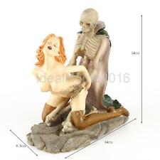 Resin Model Sexy Woman & Skeleton Home Ornament Statue Figure 14x14x8.5cm