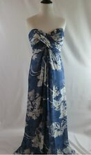 Tadashi Collection Navy Floral Silk Sweetheart Strapless Gown Dress 10