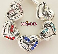 5 Stone Heart Charms Multi Color Pack Fit European Style Jewelry 11 * 10 mm R210