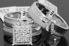 10K WHITE GOLD .89 CT MEN WOMEN DIAMOND TRIO ENGAGEMENT WEDDING RING BAND SET