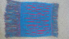 HANDWOVEN Southwestern WALL HANGING bright Red & Turquoise shiny beads in fringe