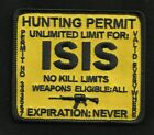 ISIS HUNTING PERMIT BIKER TACTICAL COMBAT BADGE MORALE MILITARY PATCH YELLOW