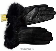 Leather Gloves. Real Fox fur. Size (S). Women's Gloves. Ladies' winter gloves #6