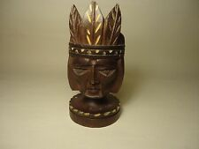 HAND CARVED WOOD SCULPTURE NATIVE AMERICAN INDIAN BUST