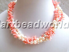 3 strands white freefrom freshwater pearls and pink coral chip twist necklace