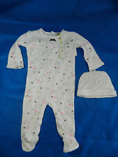Petit lem One Piece 3 Months White FLowers Footsie Baby New