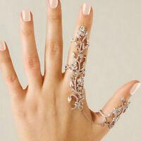 Ladies Full Rhinestone Rose Flower Double Finger Ring For Women Girl Nice Gift