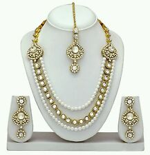 ParshwaCration Alloy Pearl Kundan Diamond Necklace Earrings Tika Jewelery Set