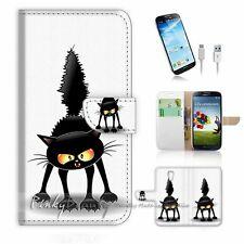 Samsung Galaxy S4 Flip Wallet Case Cover! P0898 Cat