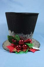 "Top Hat 9"" Raz Imports Tree Topper Snowman Holly Top Hat Christmas Decor"