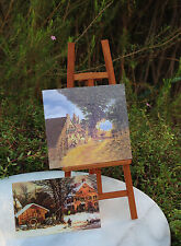 Miniature Dollhouse FAIRY GARDEN Accessories ~ Artist Easel with 2 Paintings NEW