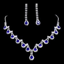 Bridal Wedding Party Blue Rhinestone Crystal Necklace Earring Jewelry Set Hot