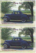 1937 Chevy Master Coupe Baseball Card Sized Cards - lot of 2 - Must See !!