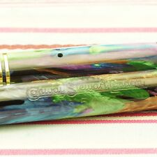 VINTAGE CONWAY STEWART DINKIE 548 PEACOCK PLUMAGE MULTI-COLOR FOUNTAIN PEN RARE
