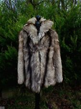 Vintage real fur WOLF , COYOTE ,FOX jacket  , 10,12(like silver fox fur )