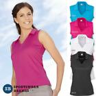 Ladies Sleeveless Polo Shirt Top Sports Mesh Size 8 10 12 14 16 18 20 Womens New