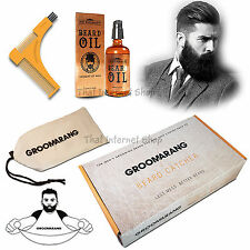 Groomarang Mens Beard Styling & Shaping Gift Box Set Comb, Oil, Trimmer Catcher