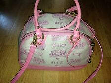 Juicy Couture Dog Carrier Bag Purse Pink Leather Canvas RARE! Juicy Monogram
