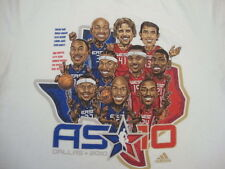 NBA Dirk Nowitzki Allen Iverson Steve Nash Caricature All Star Game T shirt L