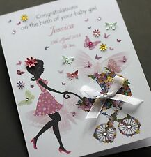 LARGE A5 Handmade Personalised Congratulations CUTE NEW BABY GIRL card
