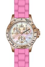 Invicta Women's Speedway Pink Silicone Band Steel Case MOP Dial Watch 21993
