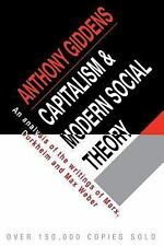 Capitalism and Modern Social Theory: An Analysis of the Writings of Marx, Durkhe