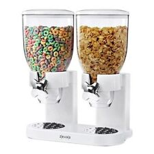 White Double Canister Dry Cereal Dispenser Organizer Goods Candy Nuts Oatmeal