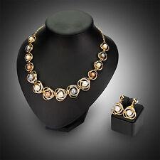 Schmuck Set Mode Perlen Strass Halskette+Ohrringe Brautschmuck Hochzeit Gold