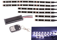6PC White LED Car Motorcycle Chopper Frame Glow Lights Flexible Neon Strips Kit