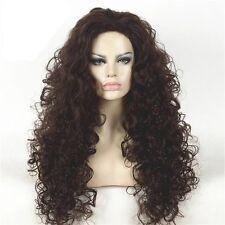 Custom Natural Long Thick Big Full Curl Dark Brown Two Tone Black Womens Wig