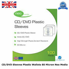 CD DVD Sleeves Plastic Wallet 80 Micron New High Quality Neo Media 100 Per Pack