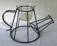 Watering Can Candle Holder Black Metal Wire Glass Votive Decor Sculpture Shape