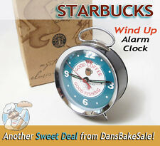 Starbucks Old Fashioned Wind Up Alarm Clock - Good Coffee Good Fishing WOW! HTF