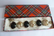 VINTAGE SCOTTISH HIGHLANDS GOLD MIRACLE PEBBLE BANDED AGATE CHUNKY BRACELET