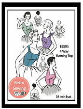 1950s Halter and Blouse Tops Sewing Pattern  - Rockabilly - Pin up