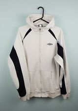 VTG RETRO MENS WORN WHITE UMBRO ATHLETIC SPORTS ZIP-UP TRACKSUIT TOP JACKET UK M