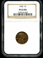 1942 1C Proof Lincoln Wheat Cent Pf 62 Red Ngc