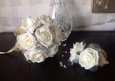 BRIDESMAID BRIDAL POSY BOUQUET WEDDING FLOWERS IVORY FOAM ROSE/GOLD + CORSAGE